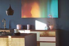 Design_Patchwork St.  Linoleum auf Multiplex mit Griffleisten aus Nussholz massiv Home Upgrades, Ikea Kitchen Design, Plywood, Corner Desk, Modern, Interiordesign, Instagram, Minimal, Home Decor