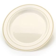 Simcha Chinalike 10 Inch Plastic Plate Ivory Gold Set Of Tags Dinner