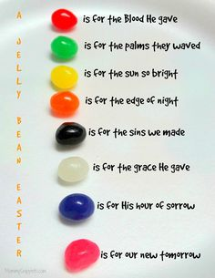 How to use Jelly Beans to teach kids the Easter story. Easter Story For Kids, Easter Crafts For Kids, Bunny Crafts, Easter Story For Preschoolers, Easter Egg Hunt Ideas, Easter Jesus Crafts, Easter Stories, Easter Games For Kids, Jesus Easter