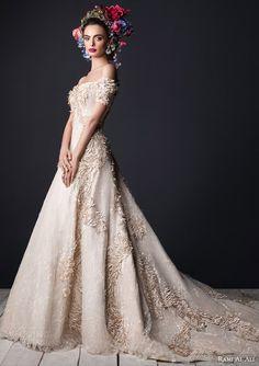 rami al ali bridal 2015 off the shoulder wedding dress short sleeves train full closer