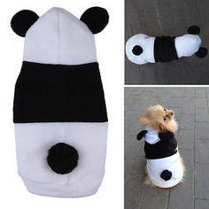 Lindo Polar Panda Ropa Abrigo caliente traje Outwear Ropa Para Mascota Perro Gato