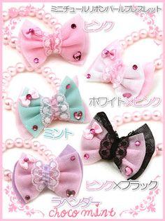 Mini-Jyr ribbon pearl bracelet in Pink, WhitexPink, Lavender, PinkxBlack