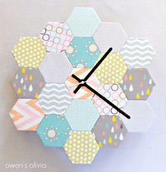 DIY Hexagon Clock by Owens Olivia - so much fun and great way to use scraps!