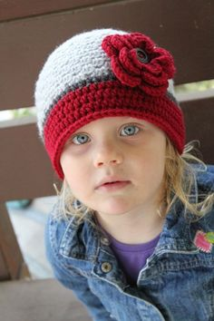 Gray and Maroon Beanie with FlowerCustom made by TopsForAllTots, $20.00