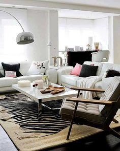 pink accents. black. living room. LOVE
