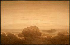'Moonrise on an Empty Shore', Oil by Caspar David Friedrich (1774-1840, Germany)