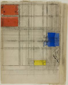 """kundst: """" Piet Mondrian (NL 1872 - 1944 US) Study for a Composition, Collage of cut and pastel papers, prepared with gouache and charcoal, on pieced cream wove newsprint in three parts. Piet Mondrian, Bauhaus, Theo Van Doesburg, Pastel Paper, Dutch Painters, Bear Art, Dutch Artists, Art Moderne, Art Institute Of Chicago"""