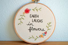 Earth Laughs In Flowers  Ralph Waldo Emerson Embroidery by BreezebotPunch