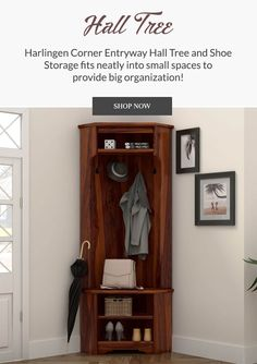Handcrafted of solid rosewood, this rustic tree hall complements nearly any decor scheme with a warm color palette and distinctive grain patterns that provide a well-rounded style statement. It is made using old-world woodworking techniques and tools to ensure lasting quality and timeless beauty.  #halltree #entryway #solidwood #shoestorage #furniture #cornerentryway #cornerhalltree #homedecor #decor #interiordecor #interior #interiordesign