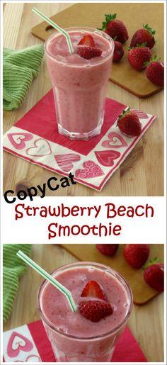 Easy Strawberry Smoothie Recipe with Yogurt - a CopyCate of Tropical Smoothie Cafe's Strawberry Beach!