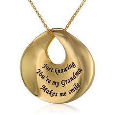 "Mothers Day Gifts for Grandma - Necklace for grandma. ""Just knowing You're my Grandma Makes me smile"""