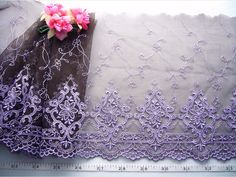 embroidered lace by the yard   ... embroidered old style purple flowers tulle net lace trim 1 3/4 yard