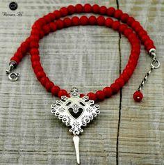 Naszyjnik góralski z parzenicą - Baziunowa Izba Polish Folk Art, Folk Fashion, Amber Jewelry, Jewerly, Folk Clothing, Boho, Poland, Crafts, Necklaces