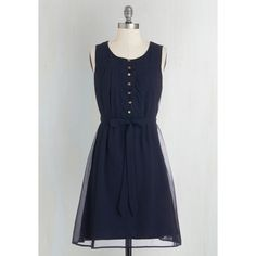 Nautical Mid-length Sleeveless A-line Bayfront Bliss Dress by ModCloth ($55) ❤ liked on Polyvore featuring dresses, holiday dresses, navy dress, navy blue cocktail dress, navy blue dress и evening dresses