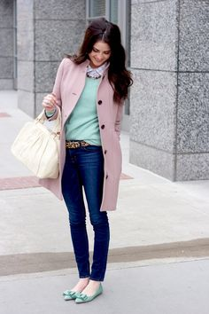 love the minty green with lavender...and the leopard belt (or could do leopard shoe)