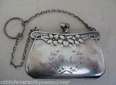 Vintage Victorian  EPNS Silver Card Case Coin Purse Engraved Floral Wreath F L