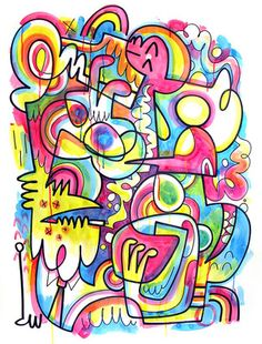 By John Burgerman --- put punya buku dia ^^ hihihi Create An Animal, Line Doodles, Graffiti Doodles, Line Artwork, Food Painting, Art Curriculum, Simple Illustration, Drawing Skills, Art For Art Sake