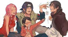Sasuke and Itachi with Sakura and Sarada