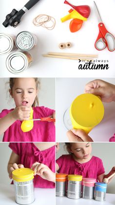 learn how to help your kids make a drum set and a kazoo. easy DIY musical instruments for kids. activities for kids crafts kid made drum set and kazoo {easy indoor craft} - It's Always Autumn Kids Crafts, Fall Crafts For Kids, Diy For Kids, Craft Kids, Toddler Crafts, Autumn Crafts, Music Instruments Diy, Instrument Craft, Homemade Musical Instruments