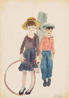 Kinder aus Cherson, 1942 Aquarell und Bleistift/Papier x 21 cm signiert Jaruska, datiert 42 abgebildet in Wilhelm Jaruska S. 4 abgebildet in Wilhelm Jaruska S. World War Two, Beautiful Landscapes, Two By Two, Artist, Painting, Animals, Interwar Period, Watercolor, Kids