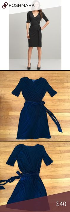 BR Wrap Dress Black jersey Stella wrap dress. Elbow length cuffed sleeves and gathered waist. Super flattering and sexy wrap style. The ultimate versatile Little Black Dress!! Excellent condition! Banana Republic Dresses