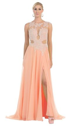 Long Lace Cap Sleeve Dress Formal Front Slit Prom