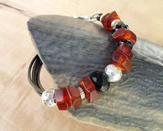 Baltic Amber Leather Bracelet Beaded Genuine by BacaCaraJewelry