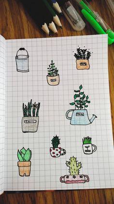 кактус, горшок, комнатные цветы, рисунок