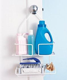 Stock laundry room supplies over a doorknob so you know when to reload. Detergent, softener, and clothespins fit neatly in the dividers.