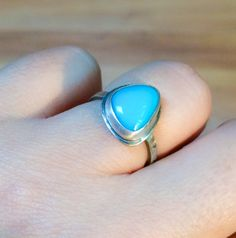 Sleeping Beauty Ring Size 8 Natural Turquoise Ring by HotTorStudio