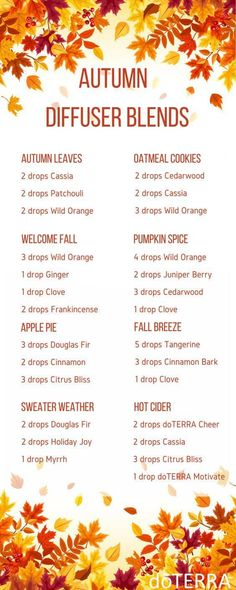 doTERRA Fall Diffuser Blends with Wonderful Recipes - Best Essential Oils Fall Essential Oils, Essential Oil Diffuser Blends, Essential Oil Uses, Essential Oils For Christmas, Best Smelling Essential Oils, Diffuser Recipes, Aromatherapy Oils, Aromatherapy Recipes, Perfume