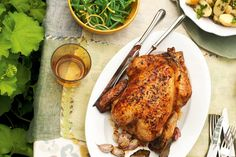 The great thing about a roast chook is that it almost cooks itself, leaving you to enjoy your guests' company.