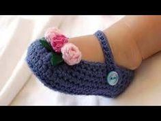 Zapatos de bebe tejidos a crochet dos agujas aplicacion - YouTube