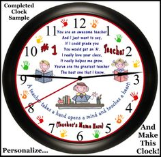 Personalized School Teacher Keepsake Appreciation Wall Clock Gift Face Insert DIY ( Make Your Own Clock) Just PERSONALIZE * DOWNLOAD * PRINT * ASSEMBLE. Exclusively Made By Simply Southern Gift on Etsy,