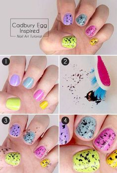 Easter nail art inspired from Cadbury Mini Eggs. It makes me hungry just looking at them! nail designs easy Cool And Easy Step By Step Nail Art Designs 2017 Easter Nail Designs, Easter Nail Art, Cool Nail Designs, Nail Swag, Nagellack Design, Nagel Hacks, Nail Polish, Manicure E Pedicure, Creative Nails