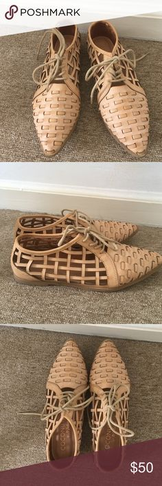Coconuts by Matisse Nude Cutout Oxfords Sandals New without box. Leather huaraches style lace up oxfords, woven with pointed toe. Coconuts by Matisse Shoes Flats & Loafers