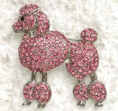 Pink Rhinestone Crystal Poodle Pin Brooch C615 | eBay