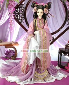 Ancient Chinese Butterfly Princess Costumes and Hair Accessories Complete Set