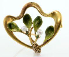 Antique 1900's Art Nouveau 14k Yellow Gold White Seed Pearl Enamel Pin Brooch