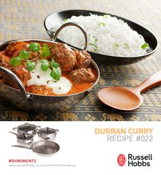 The British have long enjoyed food with bite. 200 years ago, an Indian migrant opened Britain's first curry house. Try this Durban Curry. Ingredients: 45ml oil, 1 large onion chopped, 3 cloves garlic, 10ml grated fresh ginger, 2 medium aubergines unpeeled & cubed, 1 small butternut peeled & cubed, 3 medium potatoes unpeeled & cubed, 410g tin tomatoes chopped, 15ml curry powder, 3ml turmeric, 125ml chicken or vegetable stock, 375ml frozen peas, 60ml chopped coriander leaves & 10-15ml garam… Curry Ingredients, Tinned Tomatoes, Coriander Leaves, Frozen Peas, Vegetable Stock, Cookware Set, Curry Powder, Garam Masala, Fresh Ginger