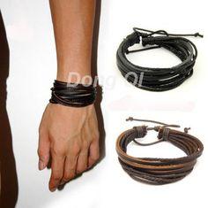 100% moda tejida a mano del abrigo de la joyería de múltiples capas de cuero cuerda trenzada pulseras de hombre pulseras y brazaletes para mujeres