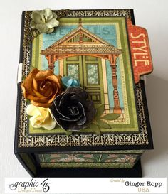 ATC Book Box Mini Album by Ginger Ropp  (041315)  designer's site:  http://mysistersscrapper.com/2015/04/graphic-45-artisan-style-atc-book-box-mini-album/