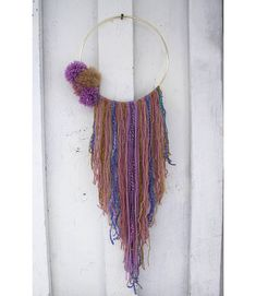 Purple and Gold Pom pom Dreamcatcher, Wall hanging, Wall art, Large, Nursery decor Moose Decor, Dorm Room Walls, Hanging Wall Art, Wall Hangings, Childrens Gifts, Wall Hanger, Cat Lover Gifts, Small Gifts, Nursery Decor