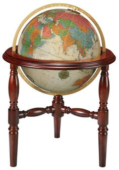 """TRENTON - Large Illuminated Floor Standing World Globe by Replogle (Free Shipping) Trenton is one of the Heirloom Collection world globes from Replogle. The  Trenton is a 20"""" diameter illuminated globe featuring a hand-applied, hand cut map and endless discoveries for the world traveler with over 4,200 place names.  Features a fully engraved metal meridian in brushed brass color and touch-on illumination controls.  The Trenton globe is made proudly in the United States."""