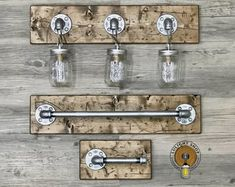 Your place to buy and sell all things handmade RUSTIC DISTRESSED mason jar light fixture 3 mason jars light Rustic Vanity Lights, Rustic Lighting, Industrial Lighting, Lighting Ideas, Vanity Lighting, Farmhouse Light Fixtures, Industrial Light Fixtures, Farmhouse Lighting, Mason Jar Light Fixture