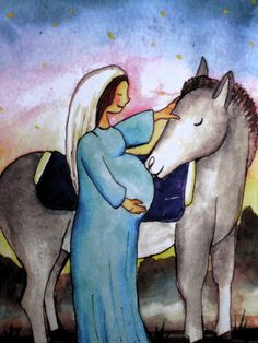 Christmas Card-Mary very pregnant receives an by EmmysAnimals
