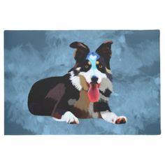 Border Collie Dog Watercolor Art Portrait Doormat - animal gift ideas animals and pets diy customize