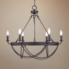 "Lyster Square  28"" Wide Oil-Rubbed Bronze Chandelier, we can add shades or leave it as is, $299"