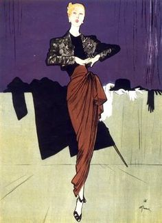 Evening gown by Marcel Rochas illustrated by René Gruau, 1946