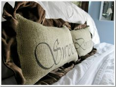 Sweet Dreams Pillows ~ Burlap and Ruffled Velvet